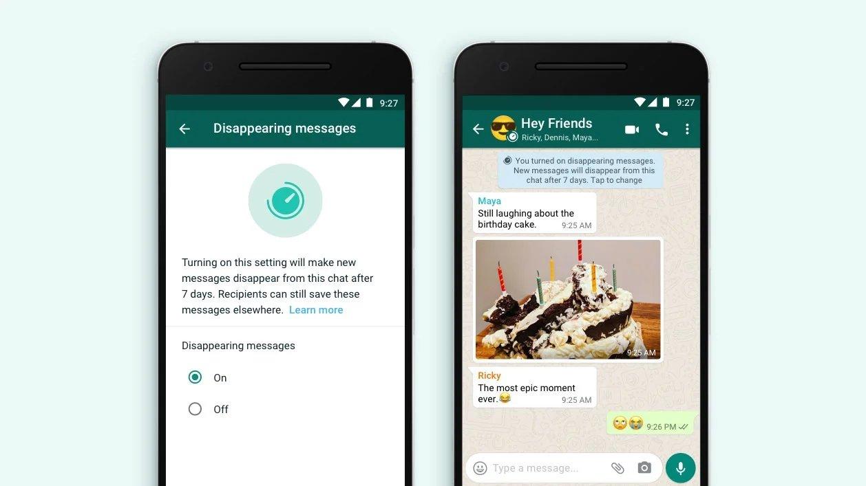 WhatsApp mensagens auto destrutivas