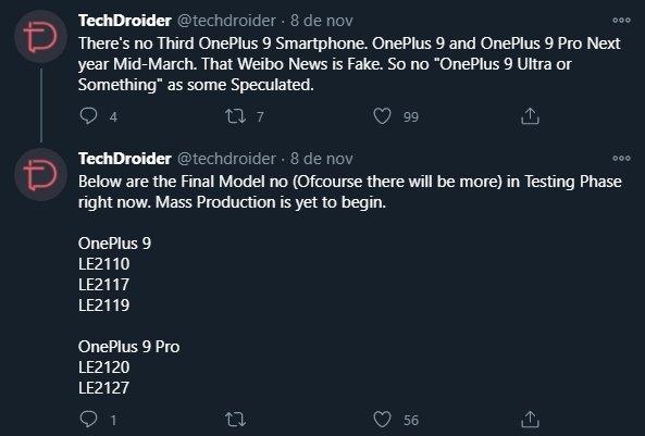 fontes sobre OnePlus 9