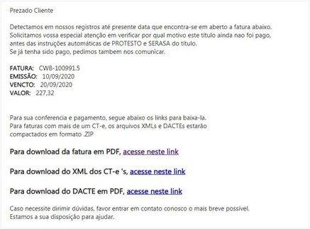 exemplo de email de malware