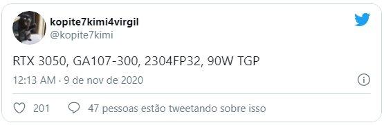 rumores rtx 3050