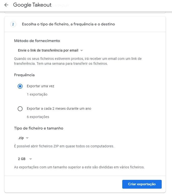google takeout selecionar ficheiro