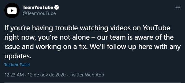 confirmação da falha no Youtube