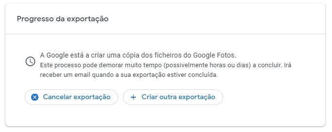 Google Fotos exportação