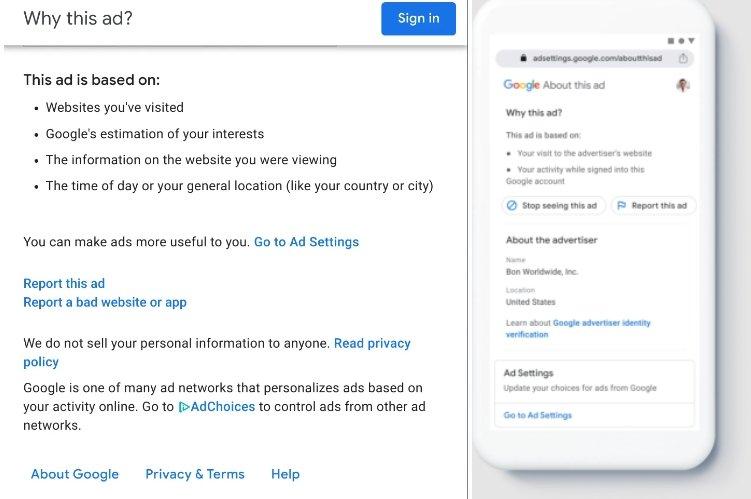Google informação publicidade