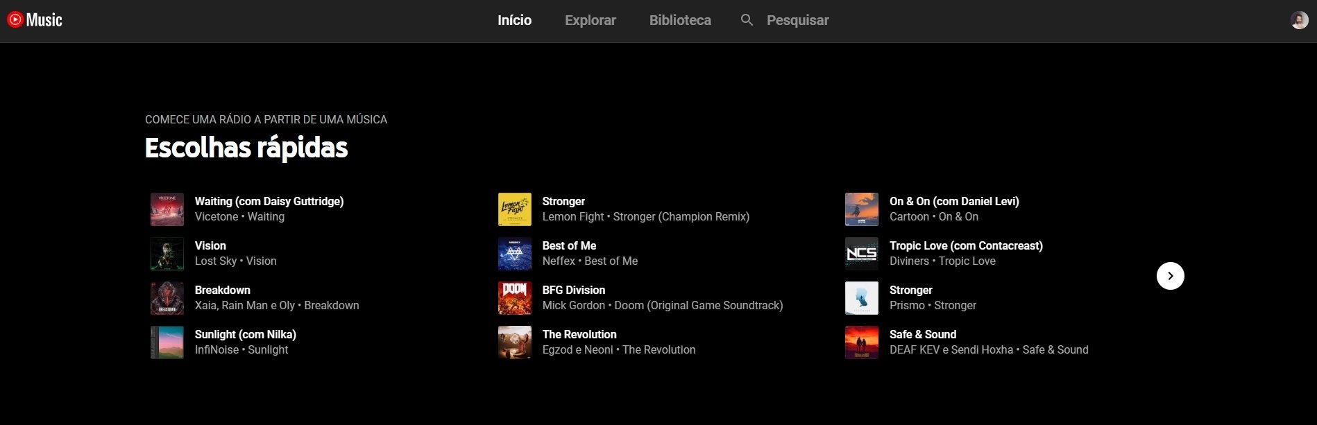 escolhas rápidas YouTube music