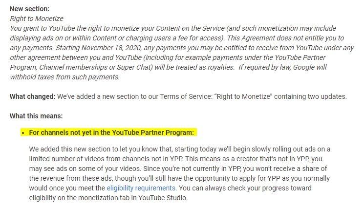 alterações dos termos de serviço sobre publicidade youtube