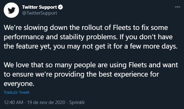 mensagem do twitter sobre falhas nos fleets