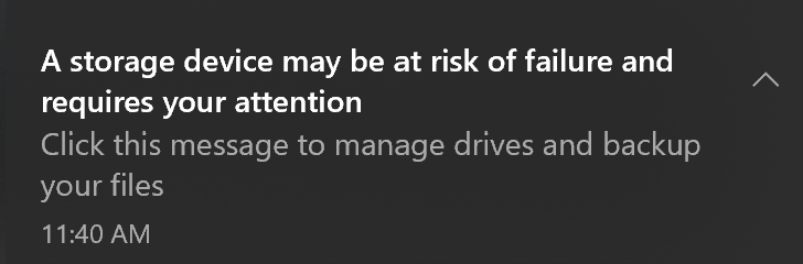 notificação da falha ssd Windows 10