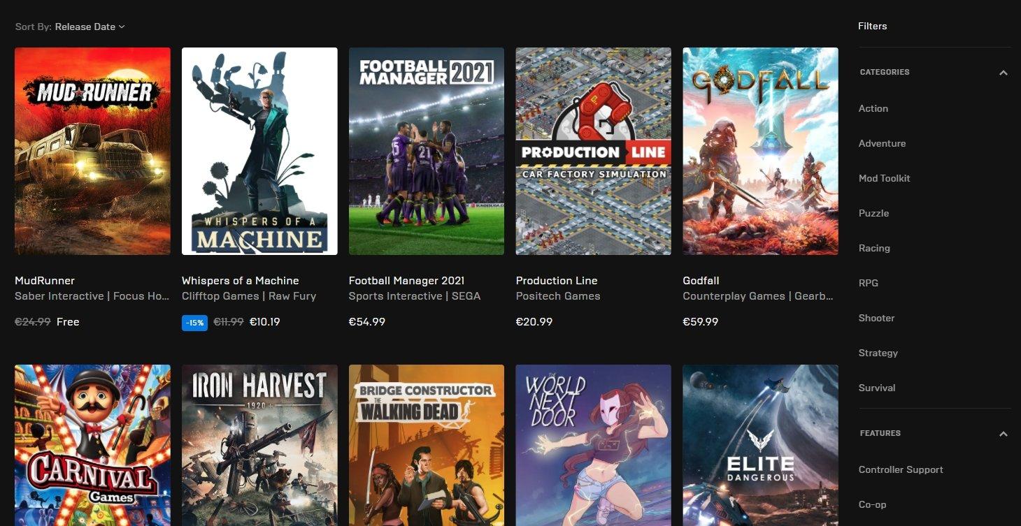 jogos da epic games store