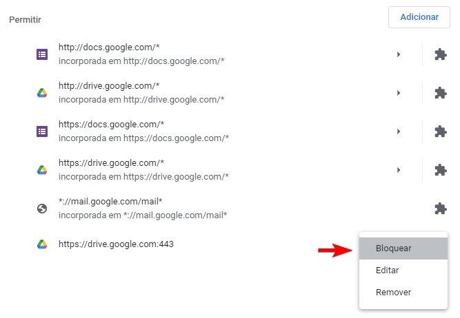 bloquear notificações do Chrome num site especifico