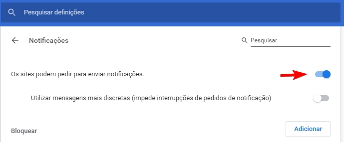 desativar notificações do Chrome