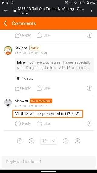 comentário de moderador fóruns da xiaomi