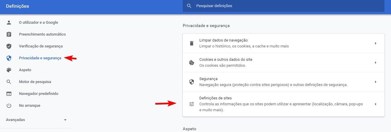 privacidade e segurança do Chrome