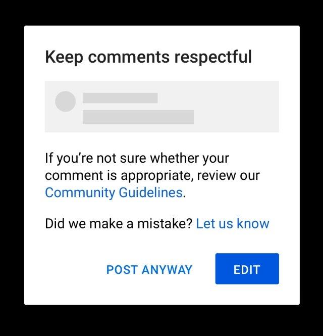 sistema de alerta do YouTube para comentários ofensivos