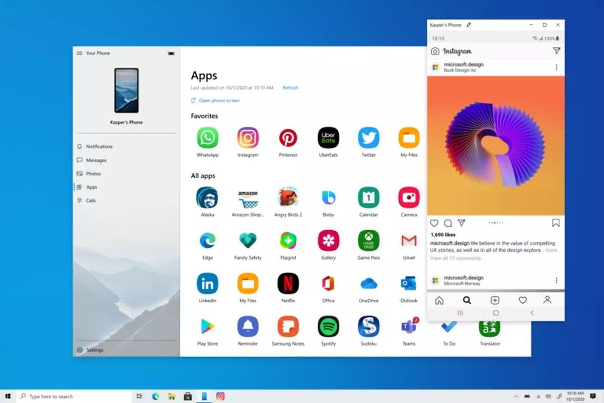 O seu telefone no Windows 10
