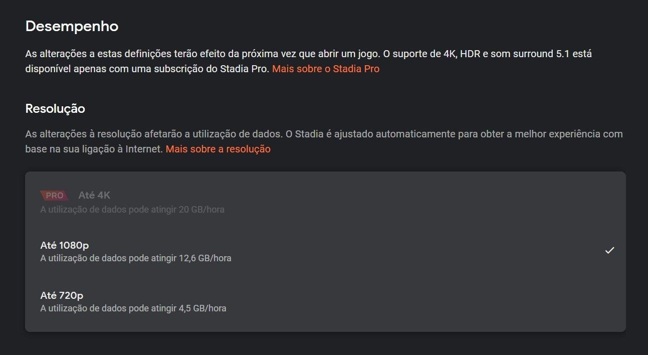 desempenho google stadia