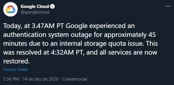 explicação da google para falhas