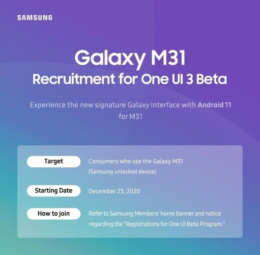 samsung galaxy m31 beta