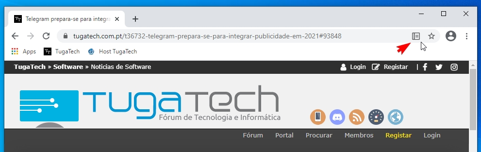 modo de leitura do Chrome