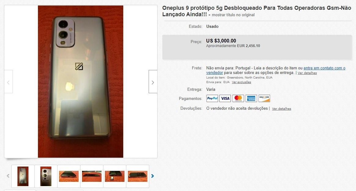 exemplo do anúncio do OnePlus 9 5g