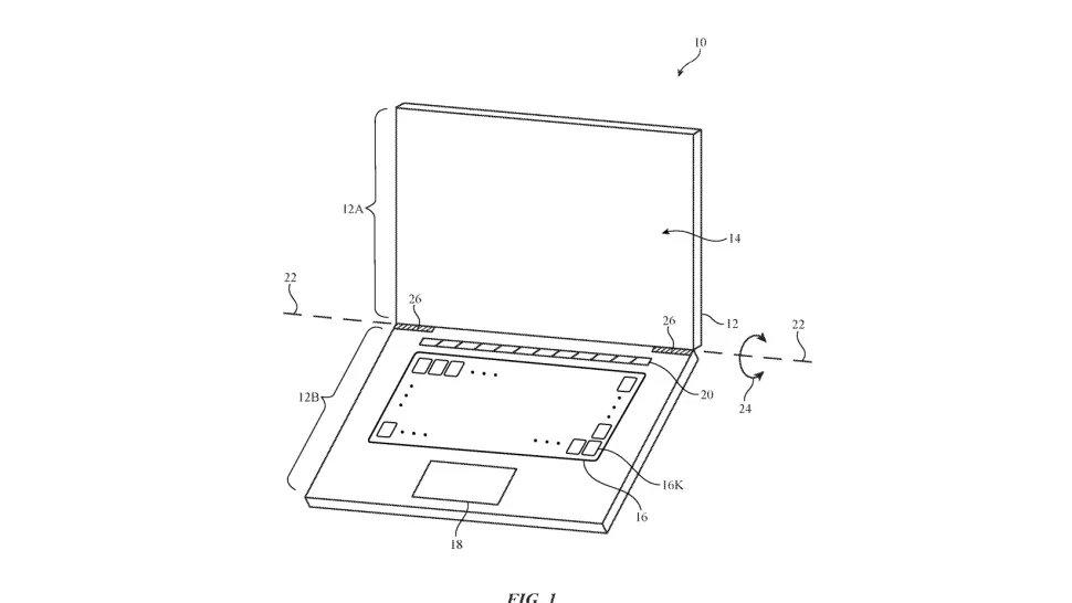 imagem da patente da apple sobre teclado