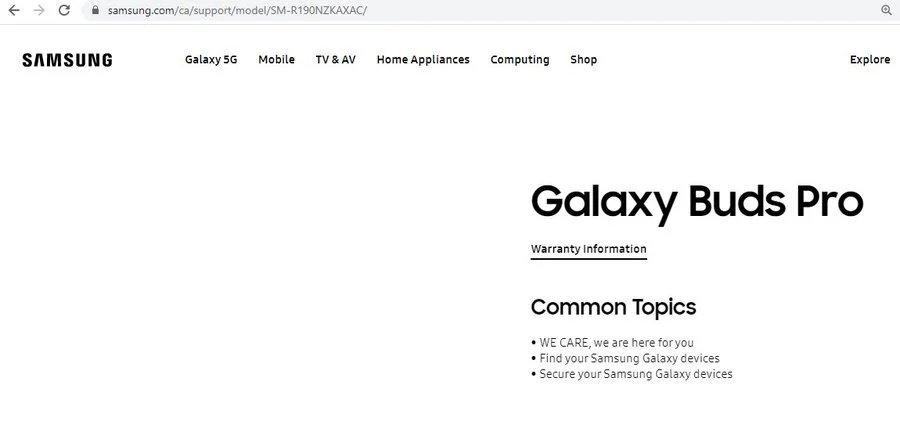 imagem do website da Samsung no canadá