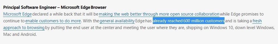 listagem da Microsoft sobre o edge