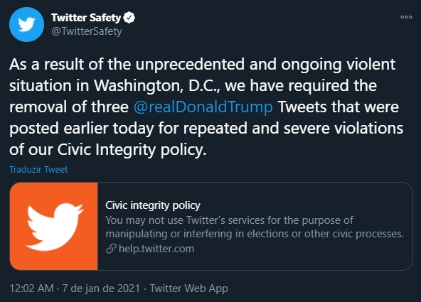 Twitter com medidas sobre trump