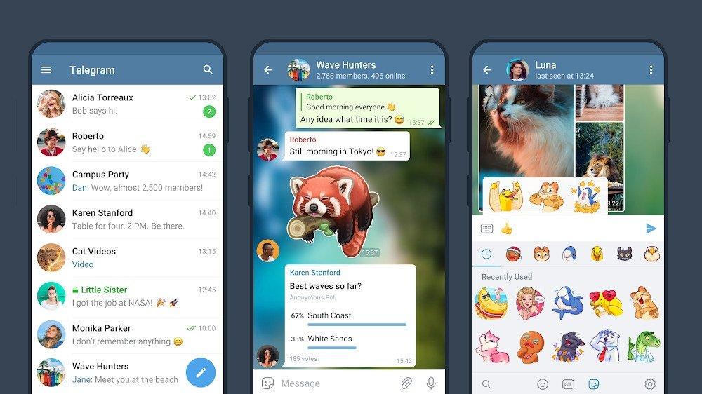 telegram app em uso
