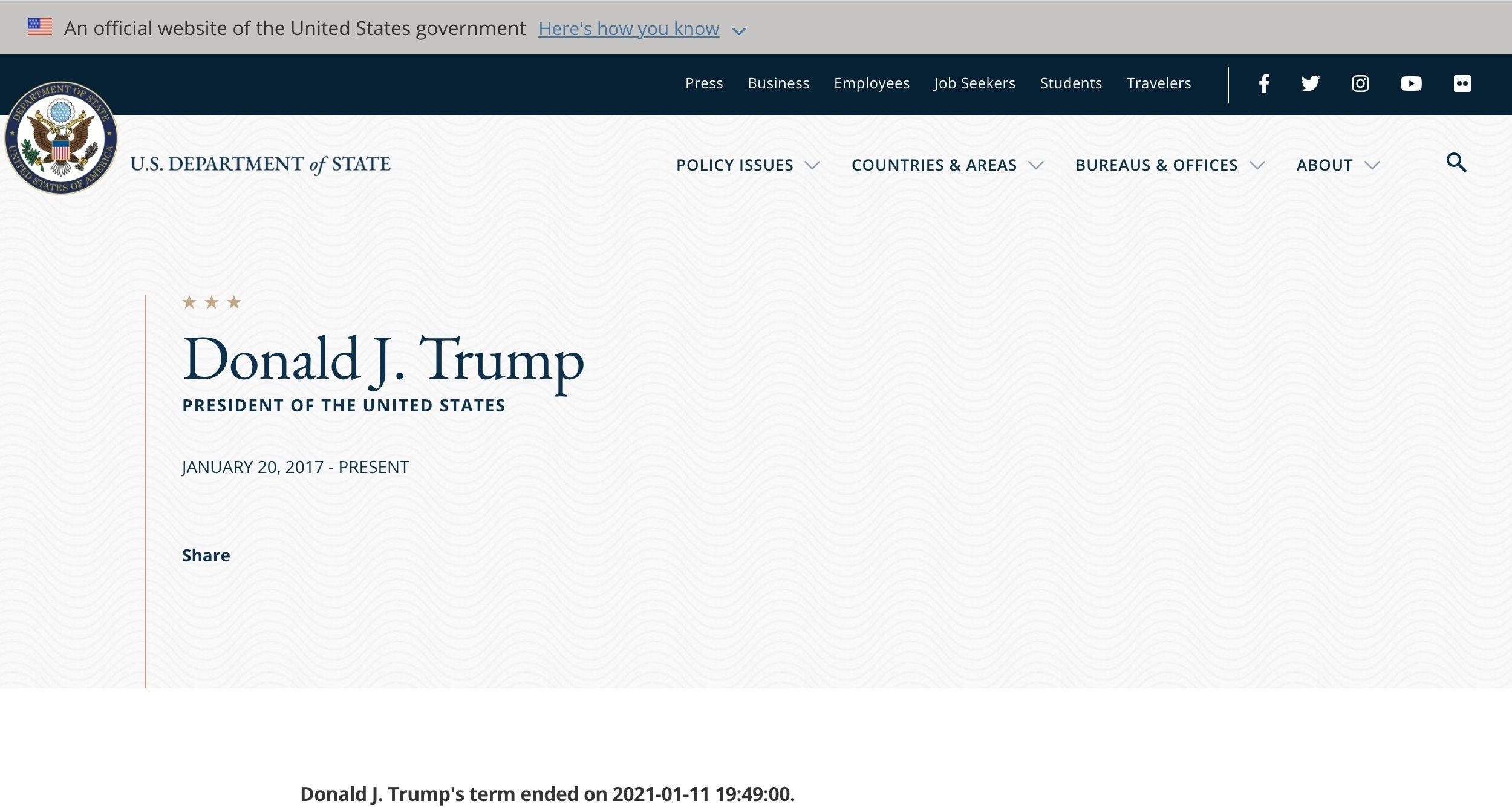 Site do Departamento de estado norte-americano