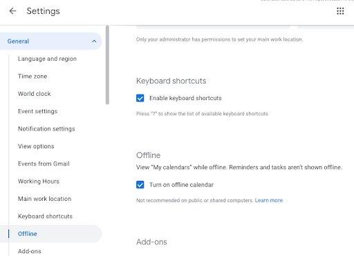 calendário google offline