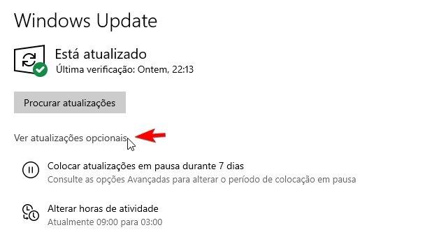 Windows Update atualizações opcionais