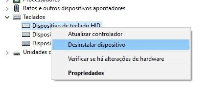 exemplo de remover teclado
