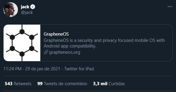 Tweet do CEO do Twitter