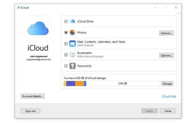 nova app do icloud para windows