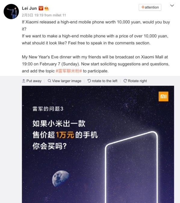 mensagem do CEO da xiaomi
