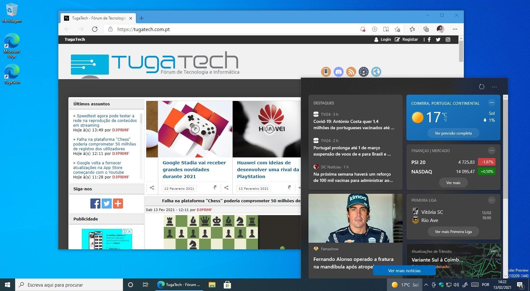 Windows 10 barra de tarefas com notícias