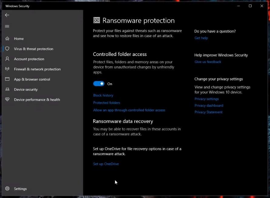 windows defender lockdown ransomware