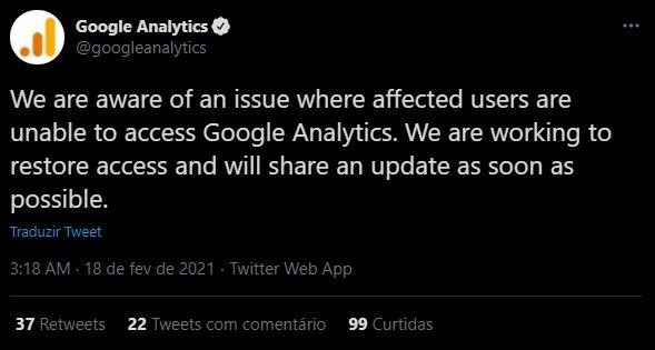 falha do google analytics