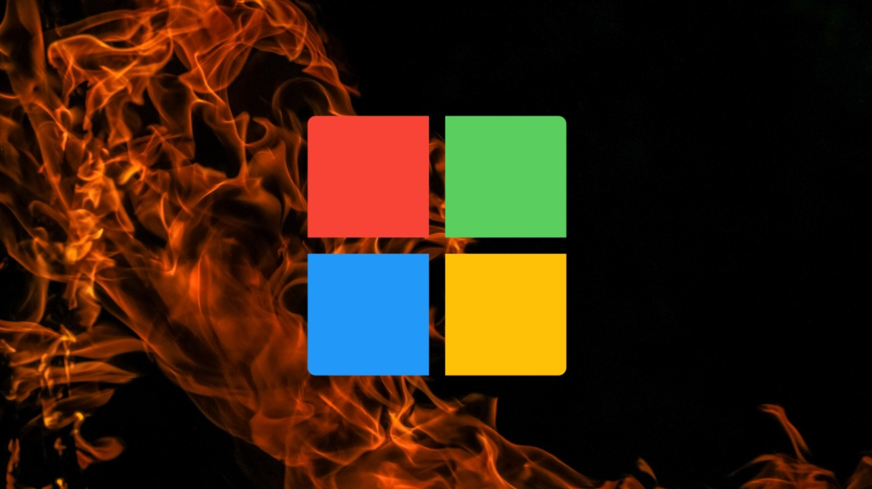 Microsoft logo sobre fogo