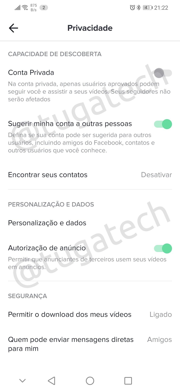 privacidade no TikTok
