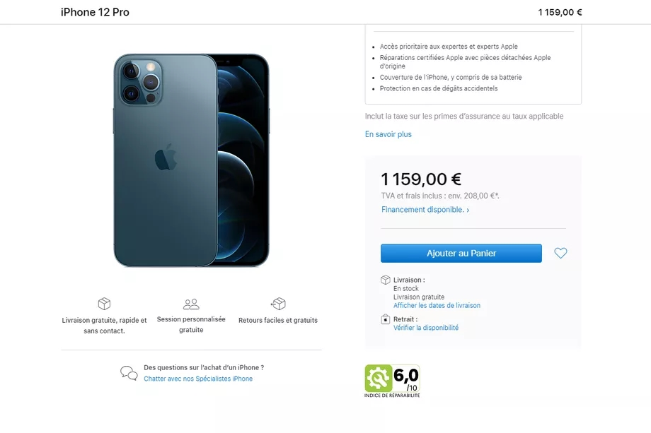 índice de reparação em frança iPhone