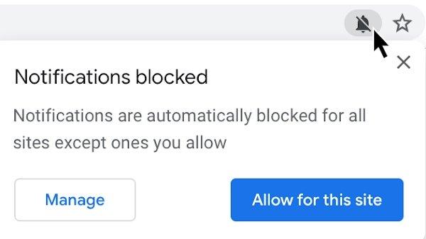 chrome 89 bloqueio de permissões para notificações