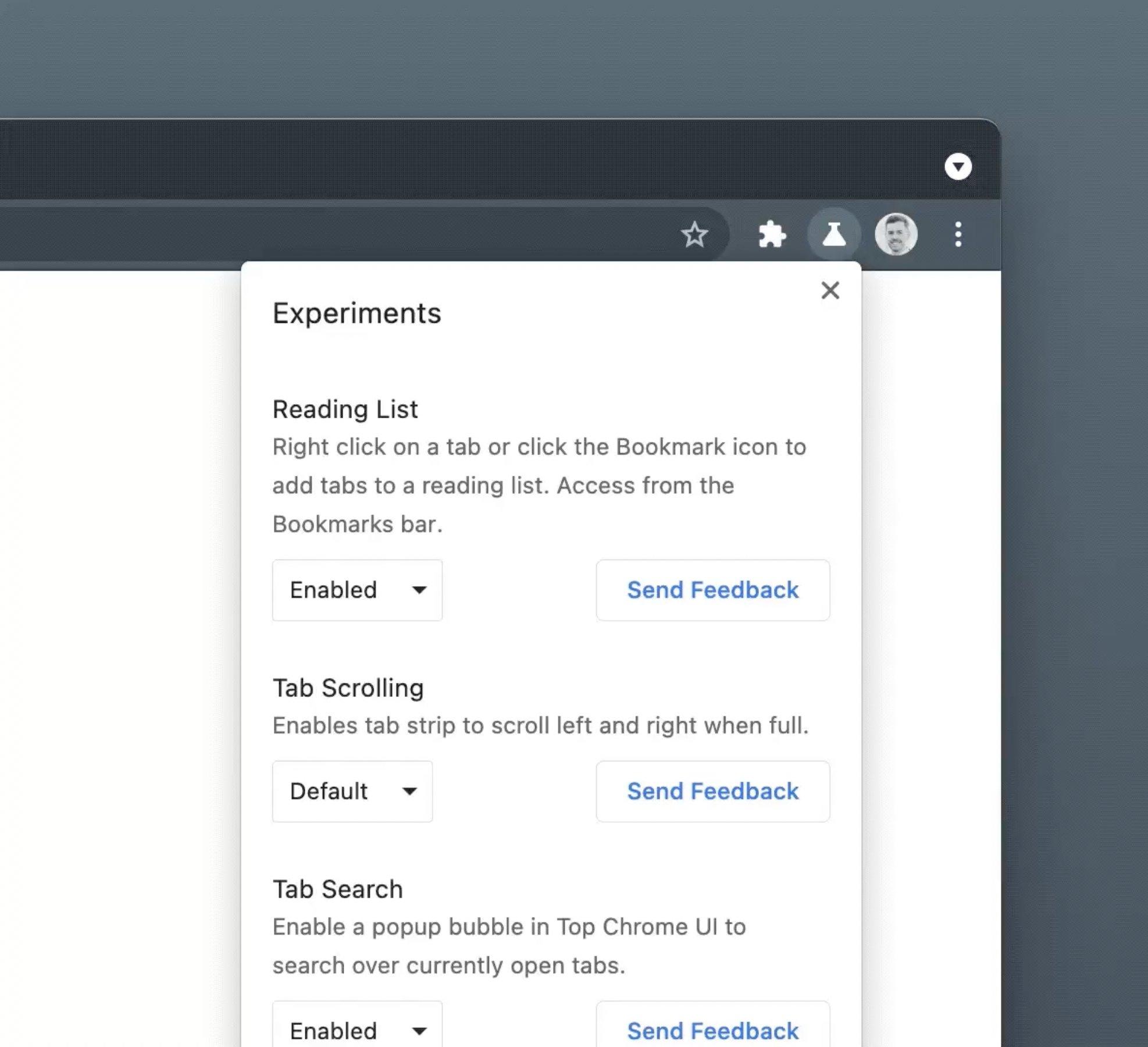 aba de experiências do Chrome