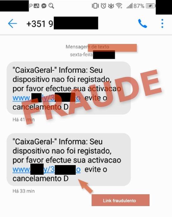 mensagem de alerta phishing CGD