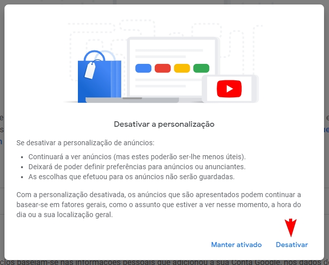desativar publicidade direcionada da Google