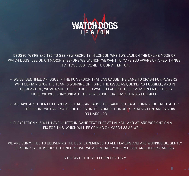 mensagem da ubisoft sobre adiamento do modo de jogo