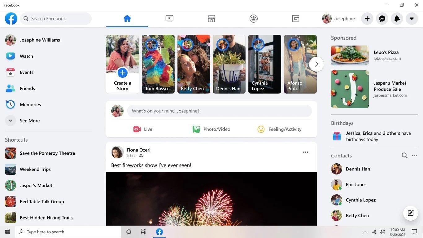 Windows 10 app Facebook