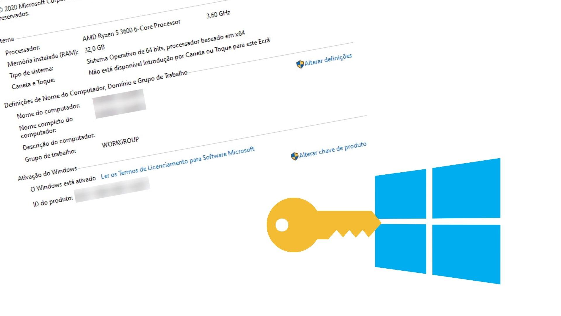 Windows ativado com chave