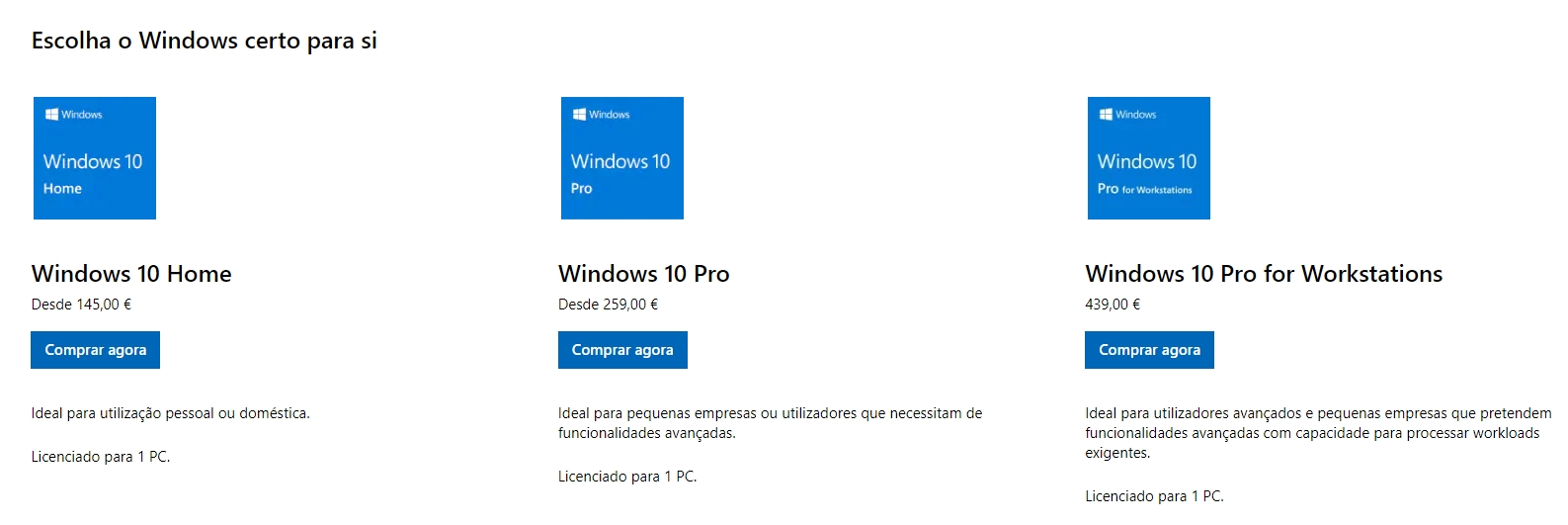 preços do windows 10